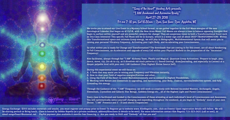 "April 27-29, 2018 – ""I AM Awakened and Ascension Ready!"" in Appleton, WI"